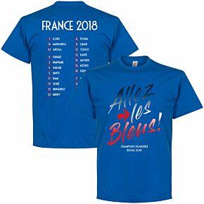 France Allez les Bleus Russia 2018 Squad Tee - Royal