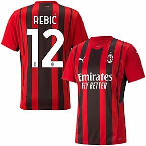 21-22 AC Milan Home Shirt + A.Rebić 12 (Official Printing)