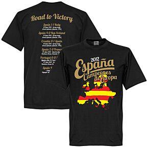 2012 Spain European Road To Victory Tee - Black
