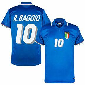 1982 Italy Home Retro Shirt + R. Baggio 10 (1994 Printed Style)