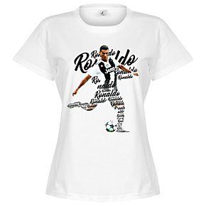 Ronaldo Script Womens Tee - White
