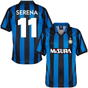 1990 Inter Milan Home Retro Shirt + Serena 11 (Retro Flock Printing)