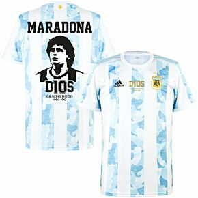 2021 Argentina Home Shirt + Maradona Infinity Tribute Print & D10S Transfer