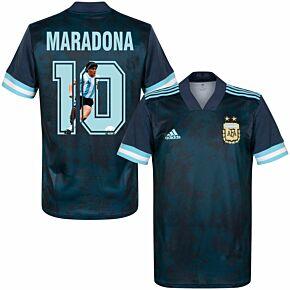 20-21 Argentina Away Shirt + Maradona 10 (Retro Gallery Style Printing)