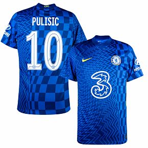 21-22 Chelsea Home Shirt + Pulisic 10 (Official Cup Printing)