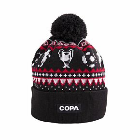 COPA Nordic Knit Beanie Hat - Black/Red/White