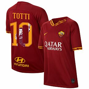 19-20 AS Roma Home Shirt - Kids + Totti 10 (Gallery Style