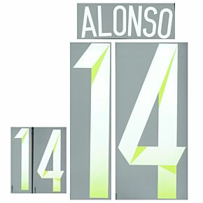 Alonso 14 14-15 Spain Away Official Name & No. Set