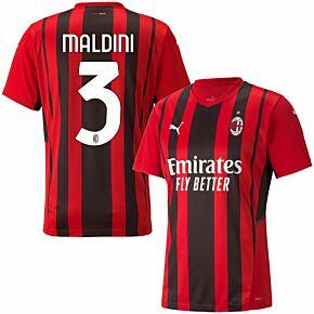 21-22 AC Milan Home Shirt + Maldini 3 (Official Printing)