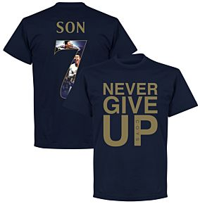 Never Give Up Spurs Son 7 Gallery Tee - Navy/Gold