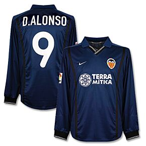 00-01 Valencia Away L/S Players Jersey + D.Alonso No.9