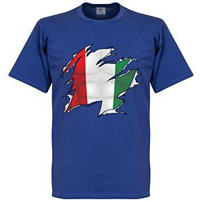 Italy Ripped Flag Tee - Royal