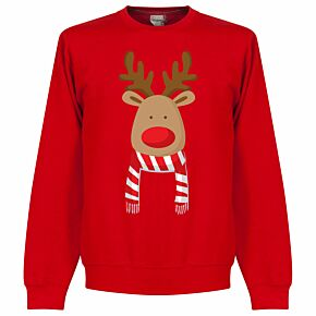 Reindeer Scarf Supporters Sweatshirt - Red