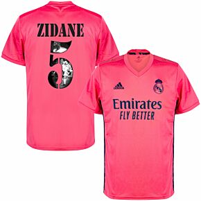 20-21 Real Madrid Away Shirt + Zidane 5 (Gallery Printing)