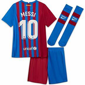 21-22 Barcelona Home Little Kids Kit + Messi 10 (Official Printing)