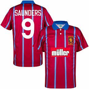 93-94 Aston Villa Home Retro Shirt + Saunders 9 (Retro Flock Printing)