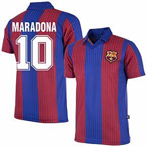 90-91 Barcelona Home Retro Shirt + Maradona 10 (Retro Flock Printing)