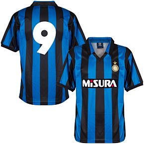 1990 Inter Milan Home Retro Shirt + No.9 (Retro Flock Printing)