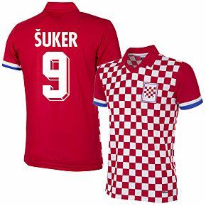 1992 Croatia Home Retro Shirt + Šuker 9 (Retro Flock Printing)