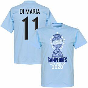 Argentina 2020 Copa America Champions Di Maria 11 T-shirt - Sky Blue