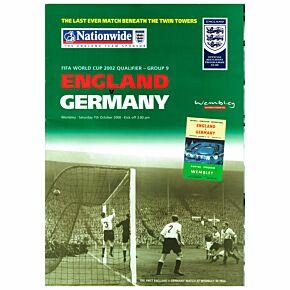 England v Germany WC 2002 Qualifier Official Match Program