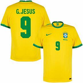 20-21 Brazil Home Shirt + G. Jesus 9 (Fan Style)
