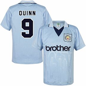 1996 Man City Home Retro Shirt + Quinn 9 (Retro Flex Printing)