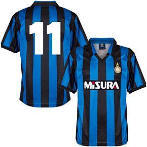 1990 Inter Milan Home Retro Shirt + No.11 (Retro Flock Printing)