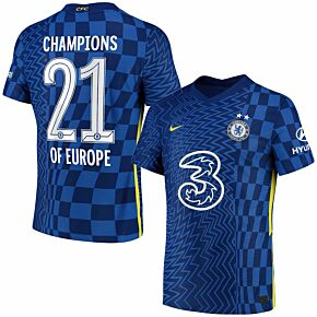 21-22 Chelsea Dri-Fit ADV Match Home Shirt + Champions of Europe 21 + 2 Stars (Official Print)