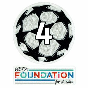 21-22 UCL Starball 4 Times Winner + UEFA Foundation Patch Set