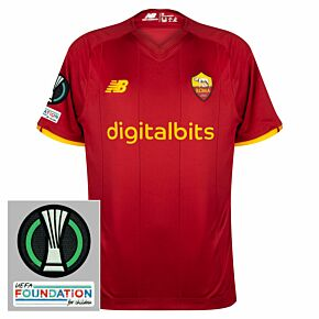 21-22 AS Roma Home Shirt + Europa Conference League Patch Set