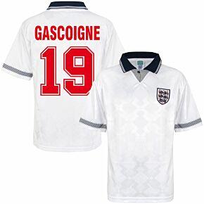 1990 England Home Retro World Cup Finals Shirt + Gascoigne 19 (Retro Flock Printing)