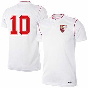 92-93 Sevilla Home Retro Shirt + No.10 (Retro Flock Printing)