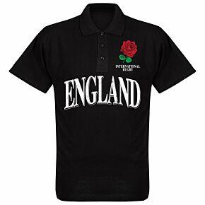 England Rose International Rugby Polo Shirt - Black