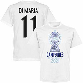 Argentina 2020 Copa America Champions Di Maria 11 T-shirt - White
