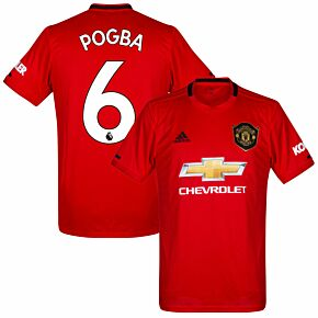 adidas Man Utd Home Pogba 6 Jersey 2019-2020 (Premier League Style Printing)