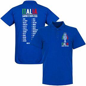 Italia Champions of Europe 2020 Squad Polo Shirt - Royal
