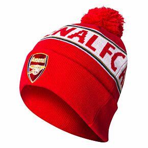 Arsenal Text Cuff Beanie Hat - Red/White
