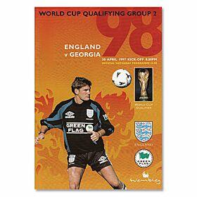 England vs Georgia World Cup Qualifier at Wembley Stadium Program - April 30, 1997