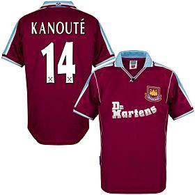 2000 West Ham Utd Home Retro Shirt + Kanoute 14 (Retro Flex Printing)