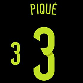 Piqué 3 - Spain Away Official Name & Number 2014 / 2015
