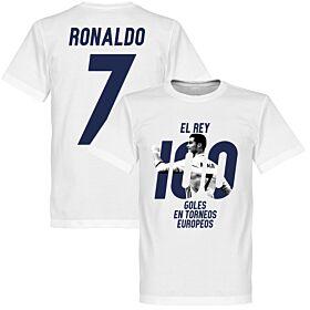 Roanldo No 7 El Rey 100 Goles Tee - White