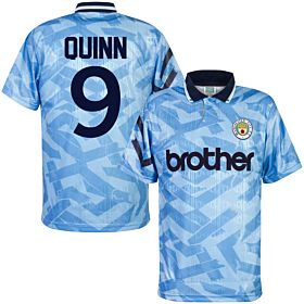 1992 Man City Home Retro Shirt + Quinn 9 (Retro Flock Printing)