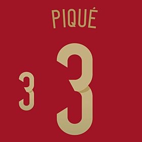 Piqué 3 - Spain Home Official Name & Number 2014 / 2015