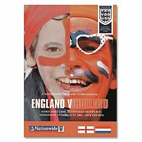 England vs Holland - International Friendly at White Hart Lane Program, 8/15/01