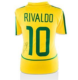 Rivaldo Back-Signed 02-04 Brazil Home Jersey (Fan Style Printing)