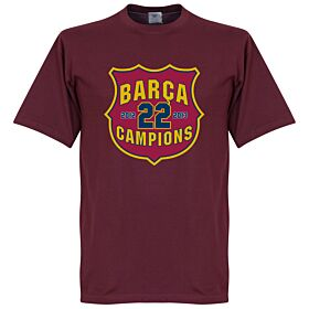 Barcelona 22 Champions Crest Tee - Claret