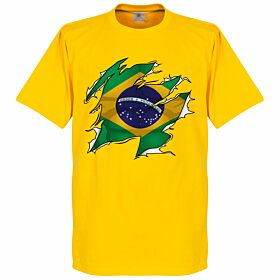 Brazil Ripped Flag Tee - Yellow