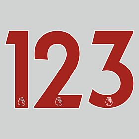 20-22 Premier League Official Adult Player Numbers - Red (265mm)