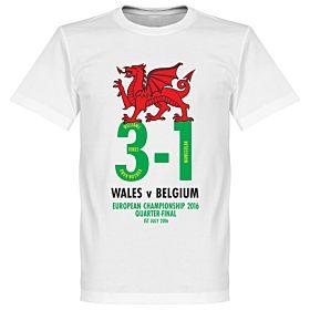 Wales v Belgium 3-1 Victory Commemorative Tee - White